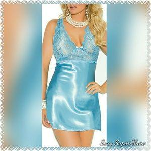 🆕PLUS Aqua Obsession Lace Satin Lingerie Babydoll